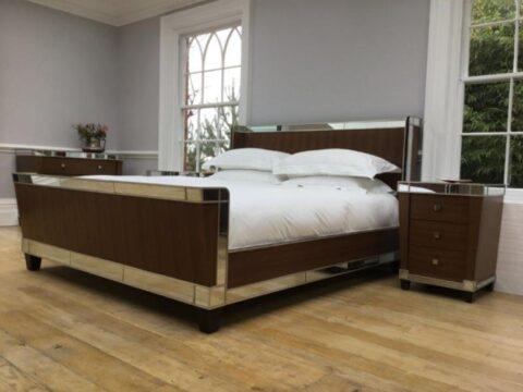 Simon Horn Murano Modern Walnut Glass Bed