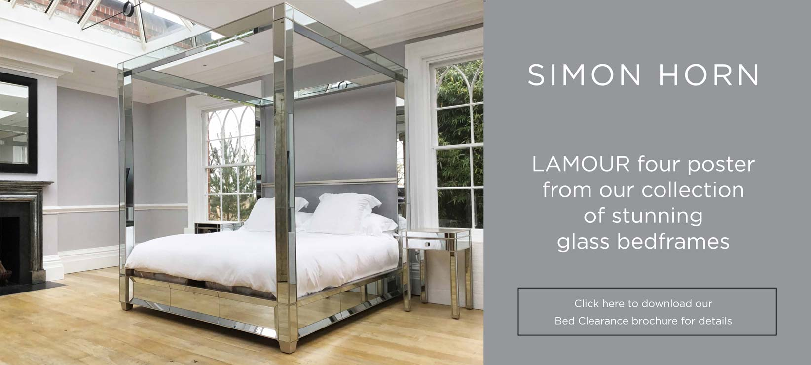Lamour Four Poster Glass Bed